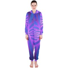 Background Brush Particles Wave Hooded Jumpsuit (ladies)