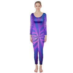 Background Brush Particles Wave Long Sleeve Catsuit