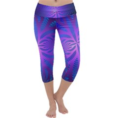 Background Brush Particles Wave Capri Yoga Leggings