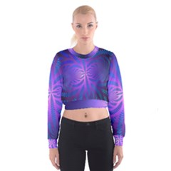 Background Brush Particles Wave Women s Cropped Sweatshirt