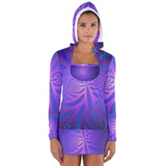 Background Brush Particles Wave Women s Long Sleeve Hooded T Shirt