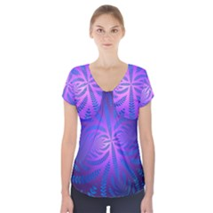 Background Brush Particles Wave Short Sleeve Front Detail Top