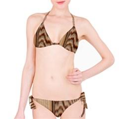 Wood Grain Texture Brown Bikini Set