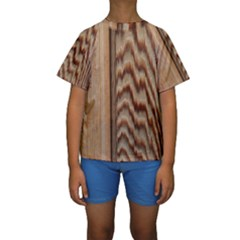 Wood Grain Texture Brown Kids  Short Sleeve Swimwear