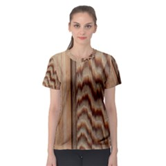 Wood Grain Texture Brown Women s Sport Mesh Tee
