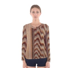 Wood Grain Texture Brown Women s Long Sleeve Tee
