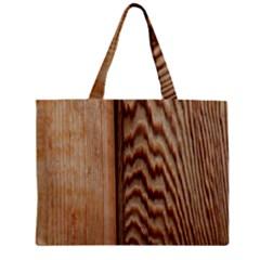 Wood Grain Texture Brown Zipper Mini Tote Bag