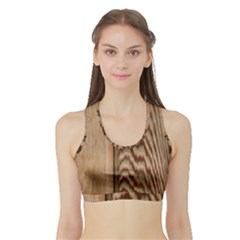 Wood Grain Texture Brown Sports Bra with Border