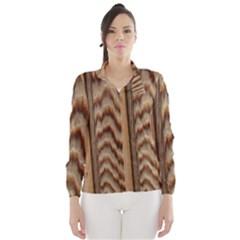 Wood Grain Texture Brown Wind Breaker (women)