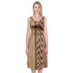 Wood Grain Texture Brown Midi Sleeveless Dress