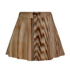 Wood Grain Texture Brown Mini Flare Skirt
