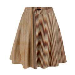 Wood Grain Texture Brown High Waist Skirt