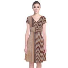 Wood Grain Texture Brown Short Sleeve Front Wrap Dress