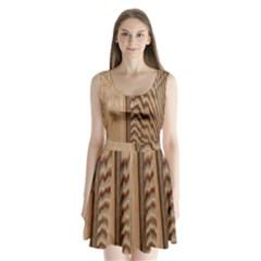 Wood Grain Texture Brown Split Back Mini Dress