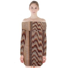 Wood Grain Texture Brown Long Sleeve Off Shoulder Dress
