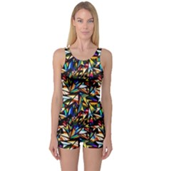 Abstract Pattern Design Artwork One Piece Boyleg Swimsuit