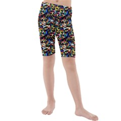 Abstract Pattern Design Artwork Kids  Mid Length Swim Shorts