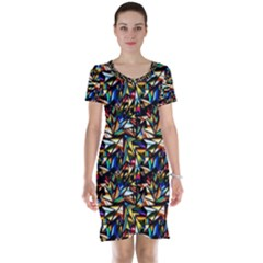 Abstract Pattern Design Artwork Short Sleeve Nightdress