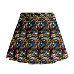 Abstract Pattern Design Artwork Mini Flare Skirt