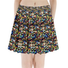 Abstract Pattern Design Artwork Pleated Mini Skirt