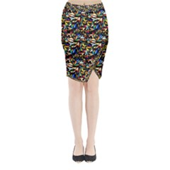 Abstract Pattern Design Artwork Midi Wrap Pencil Skirt
