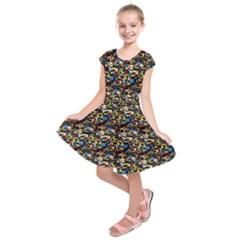 Abstract Pattern Design Artwork Kids  Short Sleeve Dress