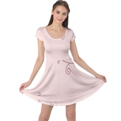 Bird City Sing Pink Notes Music Cap Sleeve Dresses