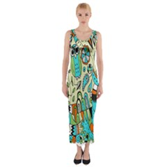 Animals Caterpillar Worm Owl Snake Leaf Flower Floral Fitted Maxi Dress