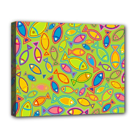 Animals Fish Green Pink Blue Green Yellow Water River Sea Deluxe Canvas 20  x 16