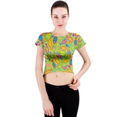 Animals Fish Green Pink Blue Green Yellow Water River Sea Crew Neck Crop Top