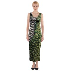 Bird Feathers Green Brown Fitted Maxi Dress