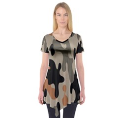 Camouflage Army Disguise Grey Orange Black Short Sleeve Tunic