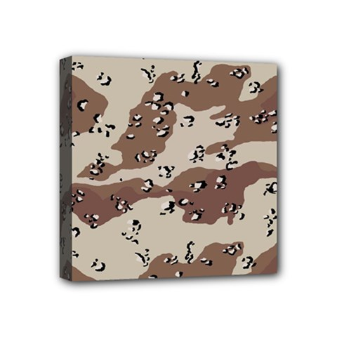 Camouflage Army Disguise Grey Brown Mini Canvas 4  X 4