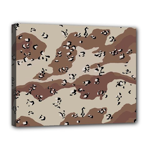 Camouflage Army Disguise Grey Brown Canvas 14  x 11