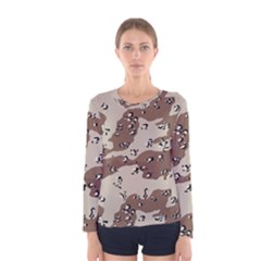 Camouflage Army Disguise Grey Brown Women s Long Sleeve Tee