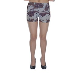 Camouflage Army Disguise Grey Brown Skinny Shorts