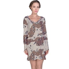 Camouflage Army Disguise Grey Brown Long Sleeve Nightdress