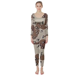 Camouflage Army Disguise Grey Brown Long Sleeve Catsuit