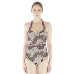 Camouflage Army Disguise Grey Brown Halter Swimsuit