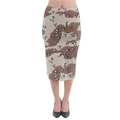 Camouflage Army Disguise Grey Brown Midi Pencil Skirt