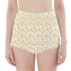 Branch Spring Texture Leaf Fruit Yellow High-Waisted Bikini Bottoms
