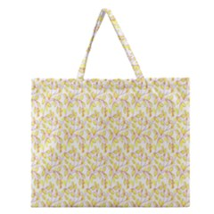 Branch Spring Texture Leaf Fruit Yellow Zipper Large Tote Bag