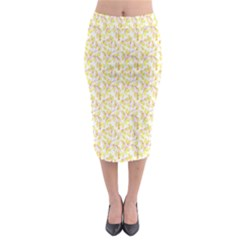 Branch Spring Texture Leaf Fruit Yellow Midi Pencil Skirt