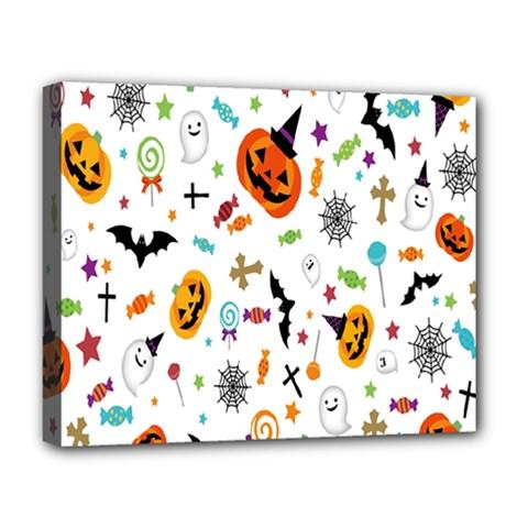 Candy Pumpkins Bat Helloween Star Hat Deluxe Canvas 20  x 16