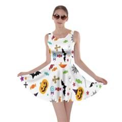 Candy Pumpkins Bat Helloween Star Hat Skater Dress