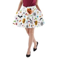 Candy Pumpkins Bat Helloween Star Hat A-Line Pocket Skirt