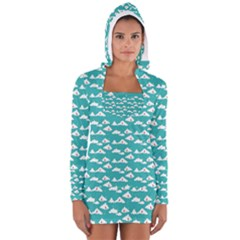 Cloud Blue Sky Sea Beach Bird Women s Long Sleeve Hooded T-shirt