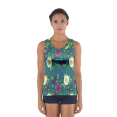 Caterpillar Flower Floral Leaf Rose White Purple Green Yellow Animals Women s Sport Tank Top