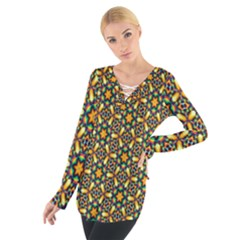 Caleidoskope Star Glass Flower Floral Color Gold Women s Tie Up Tee