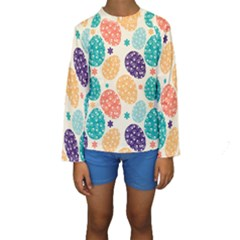 Egg Flower Floral Circle Orange Purple Blue Kids  Long Sleeve Swimwear